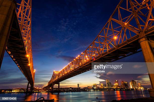 new orleans cityscape at night, louisiana, usa - new orleans french quarter stock photos and pictures