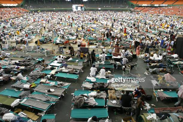 New Orleans evacuees of Hurricane Katrina reside in the Astrodome in Houston, Texas on September 1, 2005.