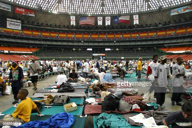 New Orleans evacuees of Hurricane Katrina reside in the Astrodome in Houston Texas on September 1 2005