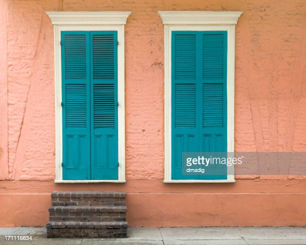 New Orleans French Quarter Peach House with Blue Shutters