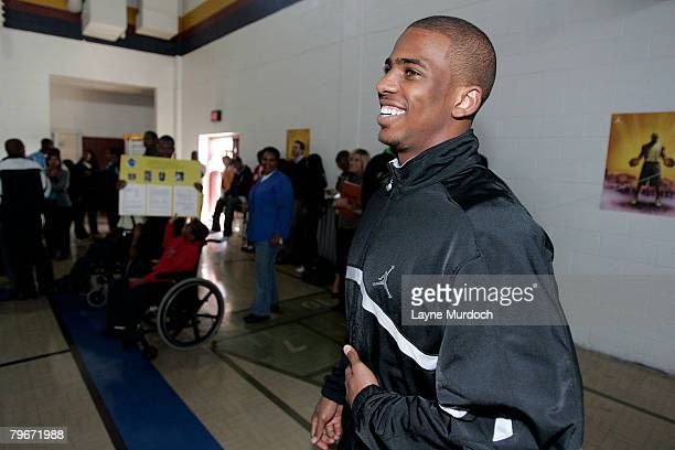 New Orleans Hornets Chris Paul teams with the Jordan Brand and donates the Jordan CP signature shoe to Sarah T. Reed High School and recognizes their...