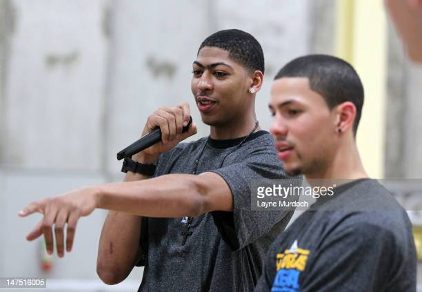 New Orleans Hornets first round draft picks Anthony Davis of Kentucky and Austin Rivers of Duke attend a basketball camp on June 29 2012 at the Big...