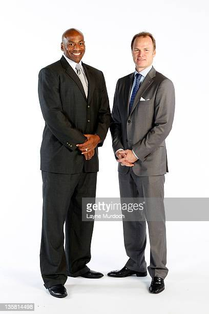 New Orleans Hornets General Manager Dell Demps and President Hugh Weber pose for a portrait during 2011 NBA Media Day on December 14 2011 at the New...