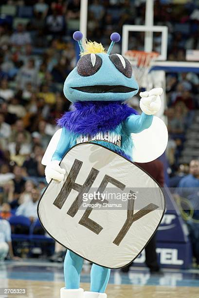 New Orleans Hornets mascot Hugo the Hornet holds a sign during the game against the Boston Celtics at New Orleans Arena on November 1 2003 in New...