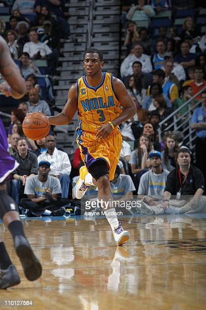 New Orleans Hornets point guard Chris Paul brings the ball up court during the game against the Sacramento Kings on March 12 2011 at the New Orleans...