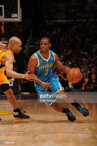 New Orleans Hornets point guard Chris Paul drives to the basket during the game against the Los Angeles Lakers in Game Five of the Western Conference...