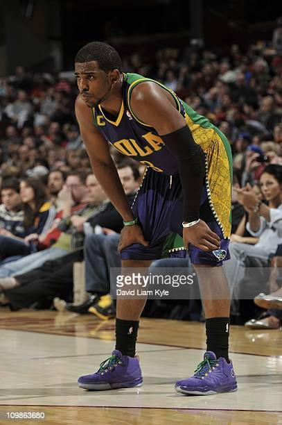 New Orleans Hornets point guard Chris Paul during the game against the Cleveland Cavaliers on March 6 2011 at The Quicken Loans Arena in Cleveland...
