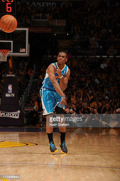 New Orleans Hornets point guard Chris Paul is seen during the game against the Los Angeles Lakers in Game One of the Western Conference Quarterfinals...