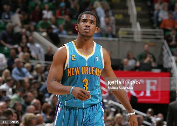 New Orleans Hornets point guard Chris Paul looks on during the game against the Utah Jazz at EnergySolutions Arena on March 24, 2011 in Salt Lake...