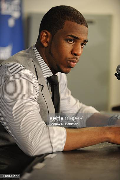 New Orleans Hornets point guard Chris Paul speaks at a press conference during the game against the Los Angeles Lakers in Game Five of the Western...