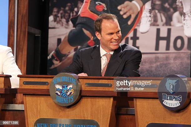 New Orleans Hornets President Hugh Weber looks on during the 2010 NBA Draft Lottery at the Studios at NBA Entertainment on May 18 2010 in Secaucus...