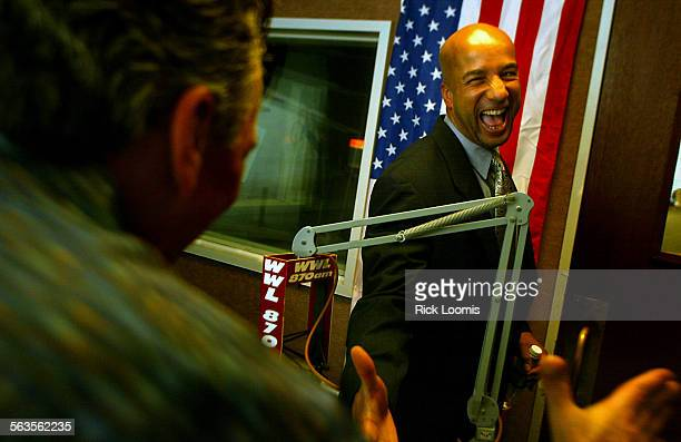 New Orleans Louisiana––New Orleans mayor Ray Nagin shakes hands with the radio host David Tyree of WWL 870 AM radio after the mayor's monthly radio...