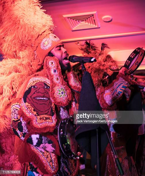 New Orleans Mardi Gras Indian band Cha Wa, with Spyboy J'Wan Boudreaux on vocals, performs during the 16th annual GlobalFest on the Studio Stage at...