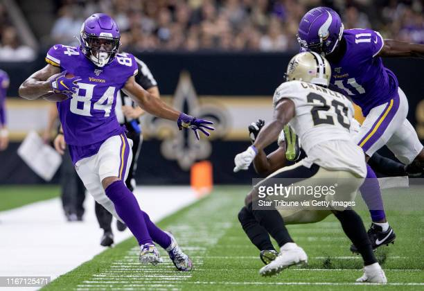 Minnesota Vikings Irv Smith Jr ran in the second quarter