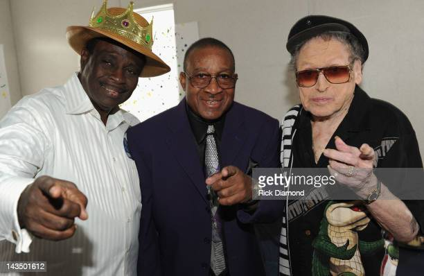 New Orleans musical legends Al 'Carnival Time' Johnson Robert 'Barefootin' Parker and Frankie Ford backstage during the 2012 New Orleans Jazz...