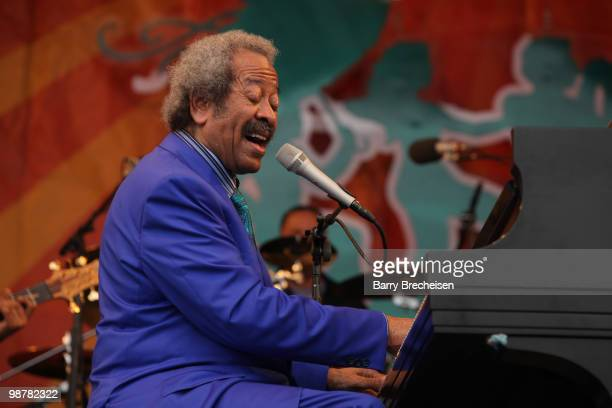 New Orleans musician composer and record producer Allen Toussaint performs during day 5 of the 41st Annual New Orleans Jazz Heritage Festival at the...
