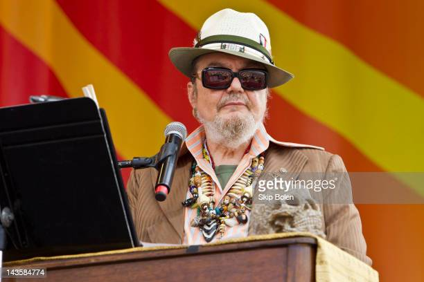 New Orleans musician Dr John performs during the 2012 New Orleans Jazz Heritage Festival at the Fair Grounds Race Course on April 29 2012 in New...