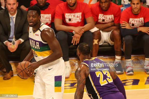 New Orleans Pelicans Center Julius Randle being guarded by Los Angeles Lakers Forward LeBron James during the first half of the New Orleans Pelicans...