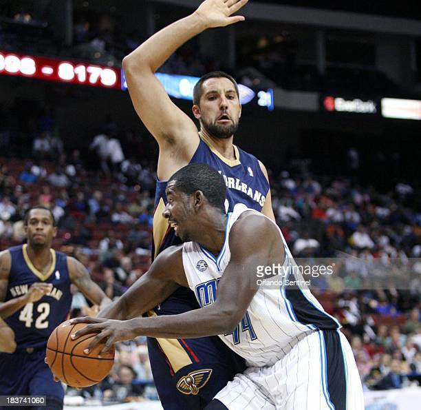 New Orleans Pelicans forward Ryan Anderson guards Orlando Magic forward Andrew Nicholson during an NBA preseason game at Veterans Memorial Arena in...