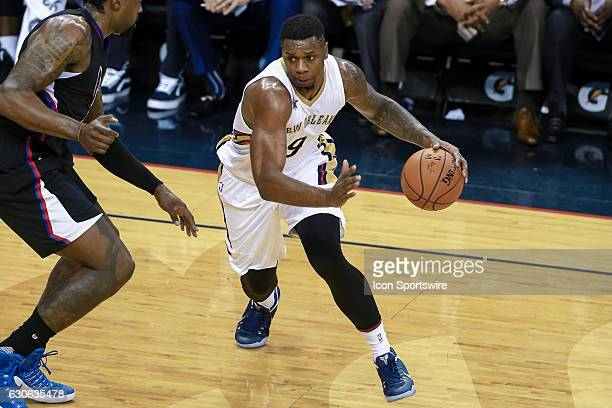 New Orleans Pelicans forward Terrence Jones dribbles during the game between the New Orleans Pelicans and the LA Clippers at Smoothie King Center in...