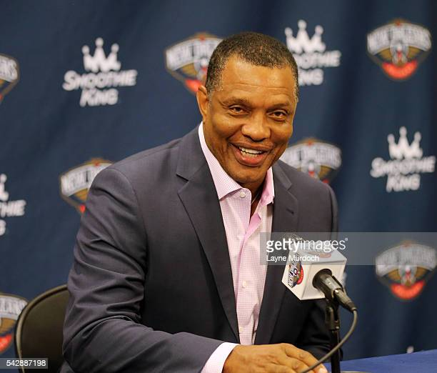 New Orleans Pelicans head coach Alvin Gentry introduces the team's 2016 Draft selections Buddy Hield and Cheick Diallo on June 24 2016 at the New...
