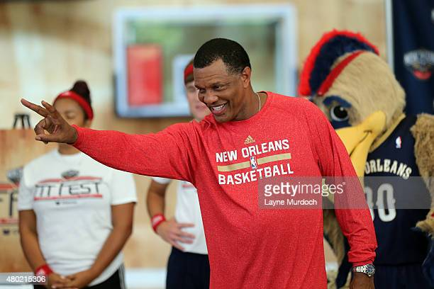 New Orleans Pelicans head coach Alvin Gentry participates in an NBA Kid Fit Clinic on July 8 2015 at the Smoothie King Center in New Orleans...