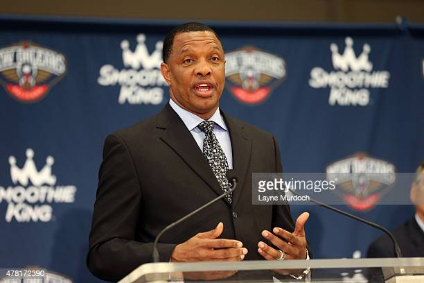 New Orleans Pelicans head coach Alvin Gentry speaks to the media after Senior Vice President of Basketball Operations/General Manager Dell Demps made...