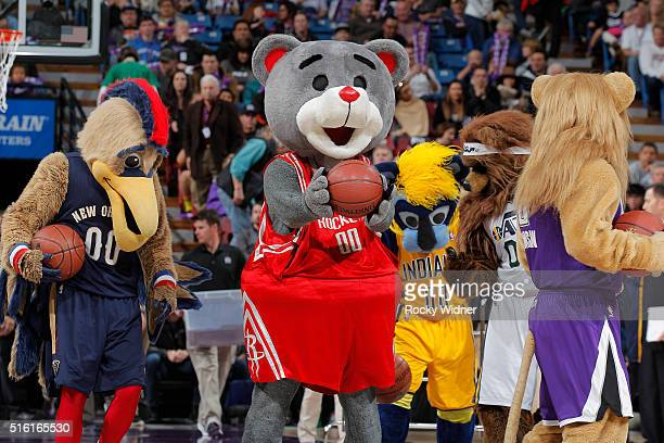 New Orleans Pelicans mascot Pierre Houston Rockets mascot Clutch Indiana Pacers mascot Boomer Utah Jazz mascot Jazz Bear and Sacramento Kings mascot...
