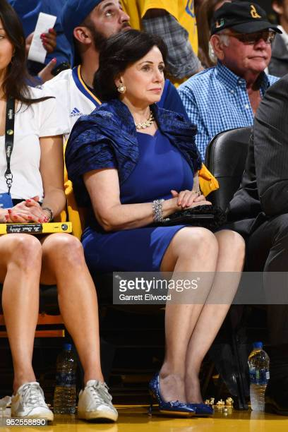 New Orleans Pelicans owner Gayle Benson looks on during the game against the Golden State Warriors during Game One of the Western Conference...