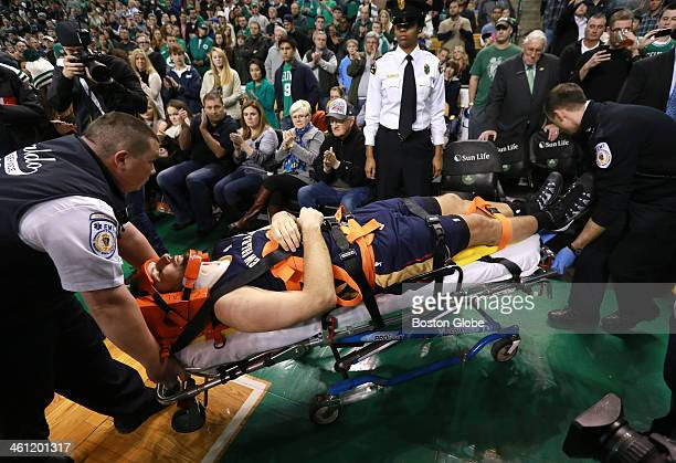 New Orleans Pelicans power forward Ryan Anderson was taken off the court on a stretcher after a collision in the fourth quarter The Boston Celtics...