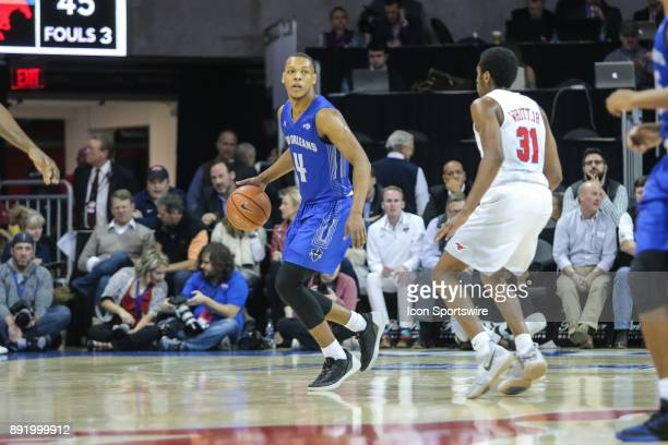 New Orleans Privateers guard Bryson Robinson brings the ball up court during the game between SMU and New Orleans on December 13 2017 at Moody...