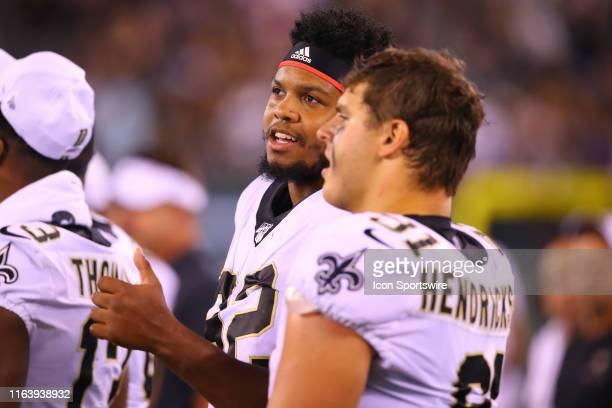 New Orleans Saints center Nick Easton on the sideline during the Preseason National Football League game between the New Orleans Saints and the New...