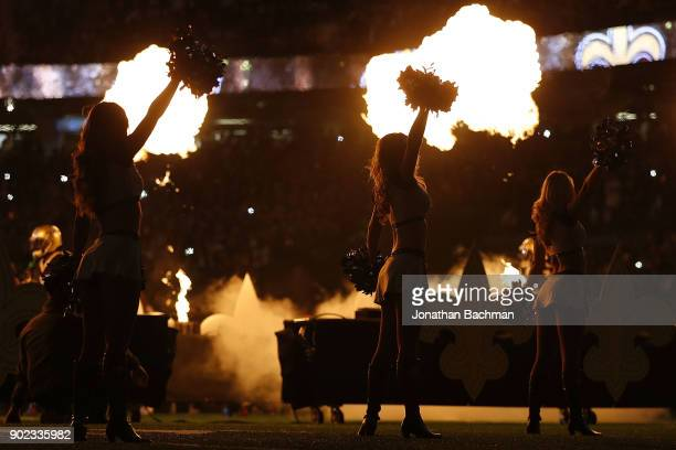 New Orleans Saints cheerleader perform during the first half of the NFC Wild Card playoff game against the Carolina Panthers at the MercedesBenz...