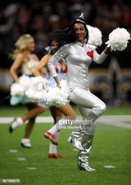 New Orleans Saints cheerleader performs during a game against the Chicago Bears at the MercedesBenz Superdome on October 29 2017 in New Orleans...