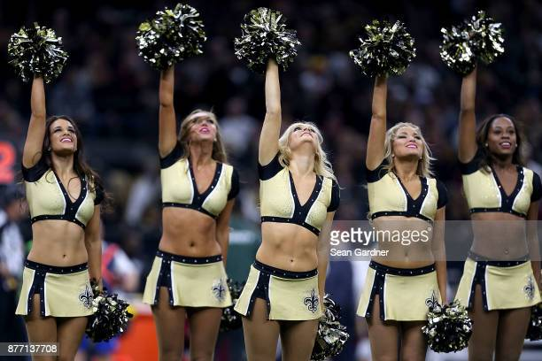 New Orleans Saints cheerleaders perfomr during a NFL game agains the Washington Redskins at the MercedesBenz Superdome on November 19 2017 in New...