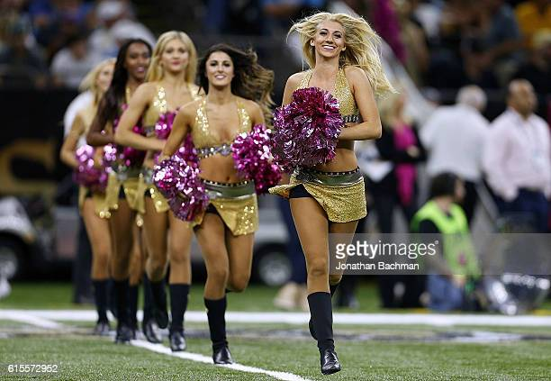 New Orleans Saints cheerleaders perfrom during a game against the Carolina Panthers at the MercedesBenz Superdome on October 16 2016 in New Orleans...