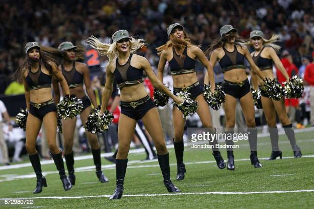 New Orleans Saints cheerleaders perform during a game against the Tampa Bay Buccaneers at the MercedesBenz Superdome on November 5 2017 in New...