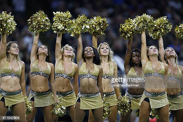 New Orleans Saints cheerleaders perfrom during a game between the New Orleans Saints and the Atlanta Falcons at the MercedesBenz Superdome on...