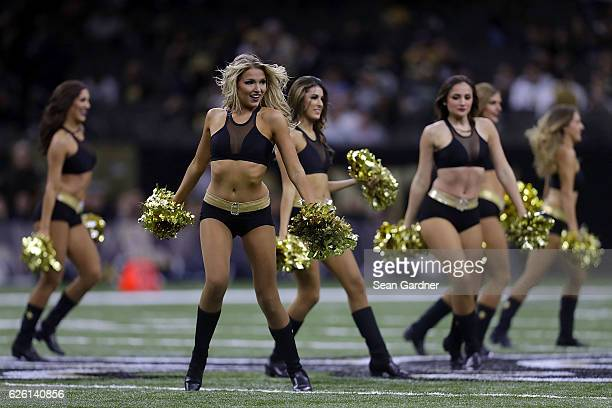 New Orleans Saints cheerleaders perform during the first half of a game against the Los Angeles Rams at the MercedesBenz Superdome on November 27...