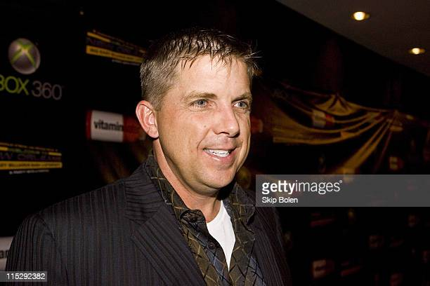 New Orleans Saints coach Sean Payton attends the 2008 NBA AllStar Shaquille O'Neal and Reggie Bush Welcome to New Orleans Big Easy Billiards Bash and...