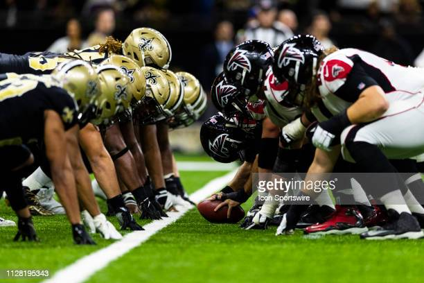 New Orleans Saints defense and Atlanta Falcons offense at the line of scrimmage before an extra point attempt during the NFL regular season football...