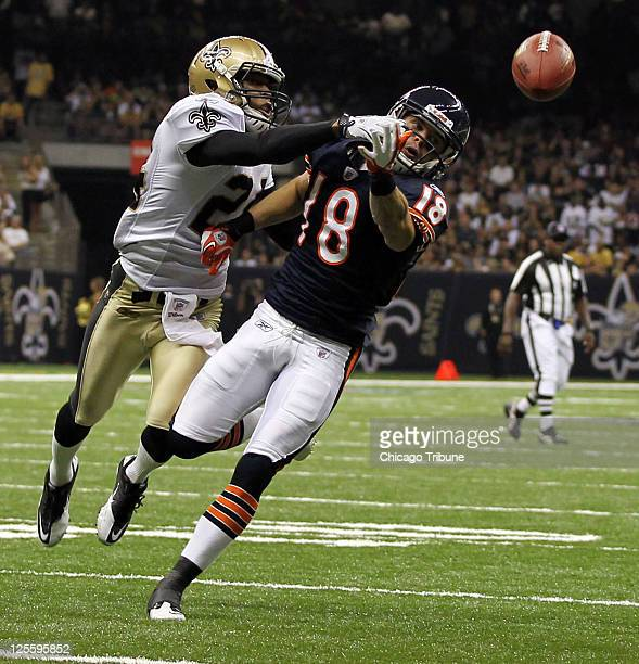 New Orleans Saints defensive back Patrick Robinson defends a pass away from Chicago Bears wide receiver Dane Sanzenbacher on the goal line in the...