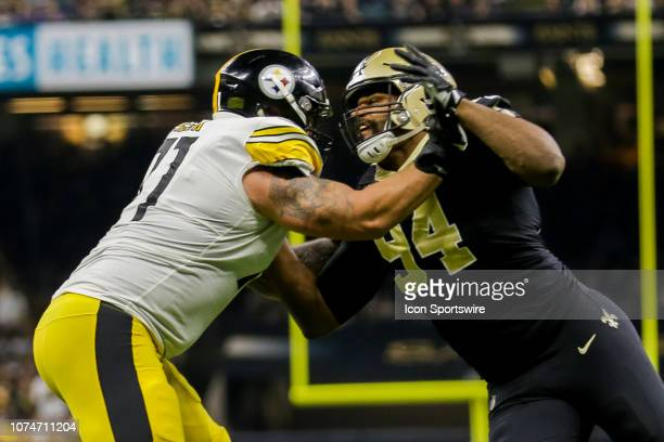New Orleans Saints defensive end Cameron Jordan rushes against Pittsburgh Steelers offensive tackle Marcus Gilbert on December 23 2018 at the...