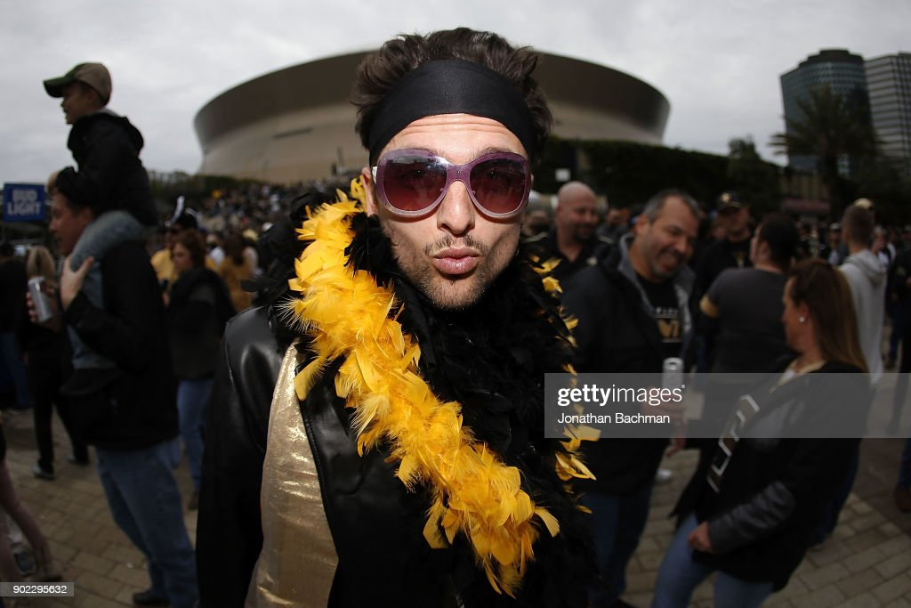 A New Orleans Saints fan is seen prior to the NFC Wild Card playoff game between the New Orleans Saints and the Carolina Panthers at the Mercedes-Benz Superdome on January 7, 2018 in New Orleans, Louisiana.