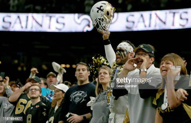 New Orleans Saints fan reacts during the NFC Wild Card Playoff game against the Minnesota Vikings at Mercedes Benz Superdome on January 05, 2020 in...