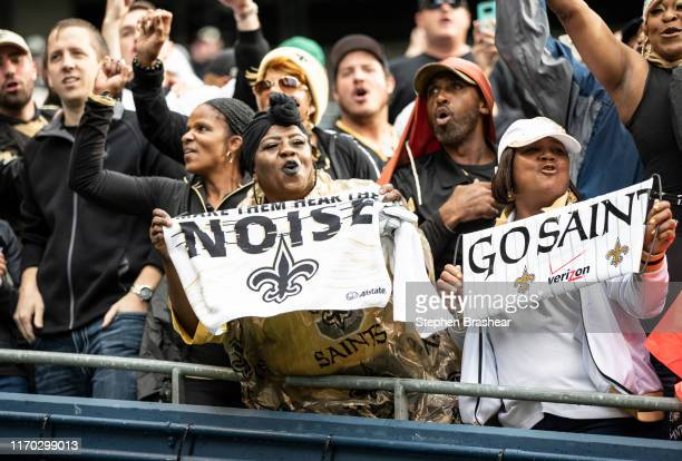 New Orleans Saints fans celebrate after game against the Seattle Seahawks at CenturyLInk Field on September 22, 2019 in Seattle, Washington. The...