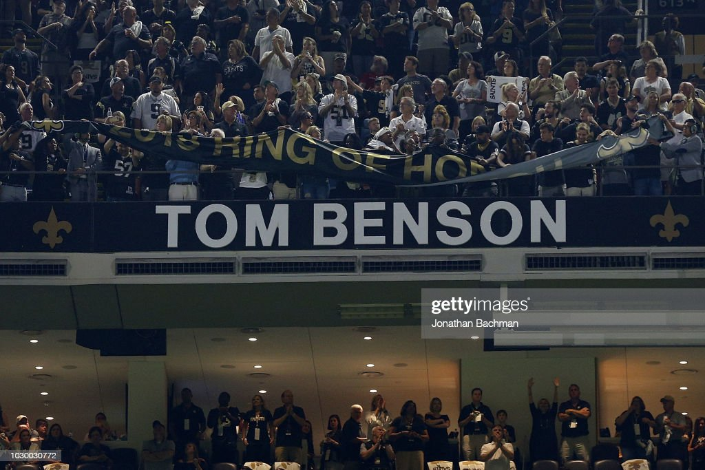 New Orleans Saints former owner Tom Benson is inducted into the Ring of Honor during a game at the Mercedes-Benz Superdome on September 9, 2018 in New Orleans, Louisiana.