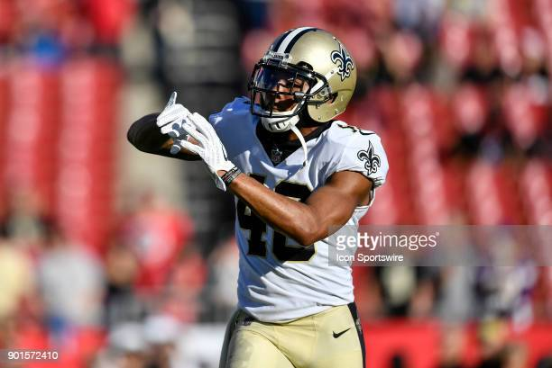 New Orleans Saints fullback Zach Line warms up prior to an NFL game between the New Orleans Saints and the Tampa Bay Buccaneers on December 31 at...