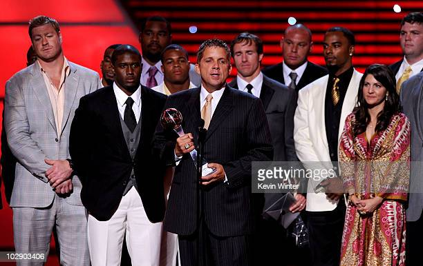 New Orleans Saints head coach Sean Payton accepts the ESPY Award for best team onstage during the 2010 ESPY Awards at Nokia Theatre LA Live on July...