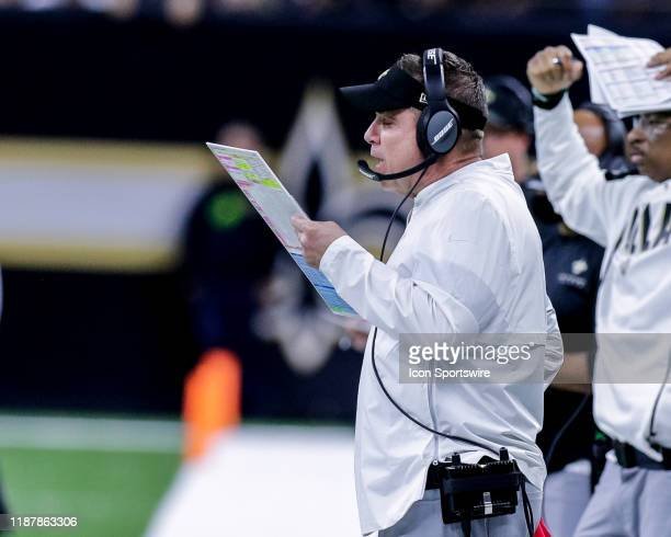 New Orleans Saints head coach Sean Payton calls plays from the sidelines abasing San Francisco 49ers on December 8, 2019 at the Mercedes-Benz...